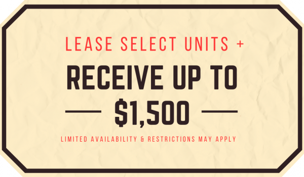 Select Units Receive Up to $1,500